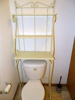 White metal & wood shelf (over toilet in master bath)