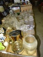 Canning jars, whiskey bottle, more