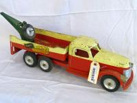 "Buddy ""L"" Rapair-It Unit, red & yellow metal truck, 22"", some rust"