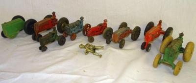 Metal & cast iron tractors, all need work or missing parts
