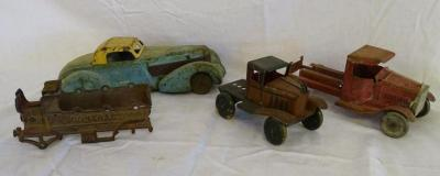 "3 unmarked metal cars; cast iron train car ""Contractors"""