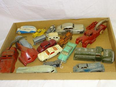 3 Dinky Toys metal cars; Ralstoy metal coupe; Excel military tanker; other misc metal toys