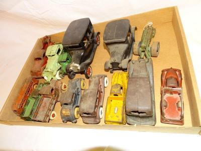 "Box of unmarked cast iron cars & trucks, most 5"", some 6"""