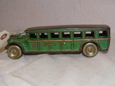 "1920's Arcade 8"" Fageot No.  110 cast iron bus, all original, loss of paint throughout"