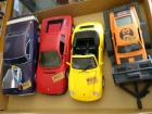Toy cars- Charger, Camaro, Ferrari, Wix 1969 Ford Boss 302 Mustang on trailer <br />