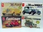 4 AMT Model car kits 1:25 scale, all in original boxes, all NIB: 1927 Model T Ford, 1932 Ford Coupe, '32 Ford 'Vicky', '36 Ford