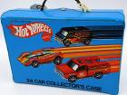 Hot Wheels 24 Car Collector's Case & 24 vehicles, original case, yellow interior, good condition, tape marks on side