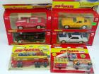 6 Majorette die cast metal toys, NIB: #344 Elephant Cage Transporter, #319 Car Carrier; 2400 Series: G.T. 350, red Corvette, yellow Corvette, Chevy 57