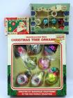 Vintage hand decorated Christmas ornaments, 2 boxes, some broken, original boxes & Vintage Christmas tree ornament hangers in original box