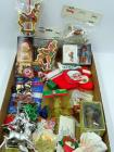 Box of assorted Christmas ornaments