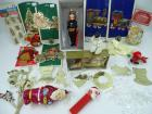 Assorted ornaments: Father Christmas, Nutcracker Suite & more; Vintage Christmas decor on toothpics