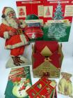 "Happy Holidays 3-Dimension Bell & Stand-Up Christmas tree, originals; 2 pkgs Dennison Christmas cutouts, original; 5 vintage cardboard gift boxes; cardboard box from ""Chase's Xmas Candies, St Joserph, MO""; Stand up cutout Santa"