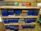Wooden cabinet & contents - all hardware in blue boxes in and on top of shelf
