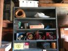 All items on top 5 shelves of metal rack incl stakes, 4 rolls sandpaper, nails, bungee cords, light fixture, roll of twine