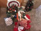 Christmas décor, gift bags & tissue paper, greenery, table top Christmas tree