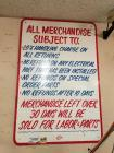 Metal Sign Hand Painted by Troy Pulver- ALL MERCHANDISE SUBJ TO: