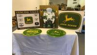 "John Deere metal signs: (1) 12"" ; (3) 12""x16"" (all in good, clean condition)"