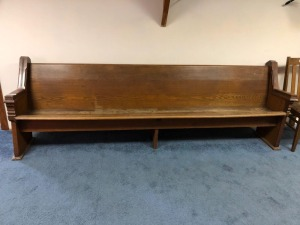 Wood Church Pew-With Broken Song Book Holders