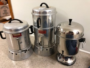 Three Older Model Commercial Size Coffee Makers
