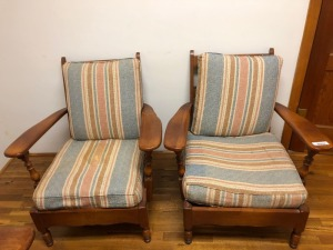 Two Wood Framed Chairs with Canvas Cushions