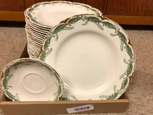 "J&G Meakin Vintage Henly, Decorative Dinner Plates, ""Lily of the Valley"" dinner plates; white plates w/green floral & gold accent"