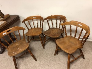 Oak Dining Chairs (4), scratches & colors faded, appear stable