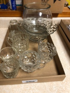 Crystal & Glass sugar & creamers, bowls; Americana pcs; fish bowl; misc
