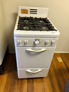 "Vintage Gas Stove, apartment size, 19"" x 36"" x 24"", porcelain enamel, condition unknown"