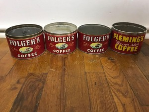 3 Folgers Coffee tins; 1 Fleming's coffee tin
