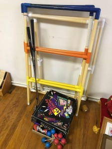 Games incl Ladder Ball, Two Stage Trivia Game, 2 Dunlop golf clubs, Buzz Lightyear action figure