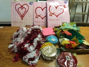Valentines decor and streamers