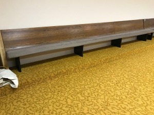 Wooden church pew, 16'5""