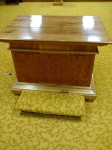Oak podium w/raised lid, ceremonial podium for Masonic Lodge