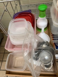 Plastic Storage Containers Various Shapes & Sizes, Plastic Bowls, Sink Plugs, and More