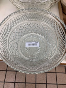 Clear Glass Serving Bowls, Punch Bowl/Cups, Platters, and Dessert Plates
