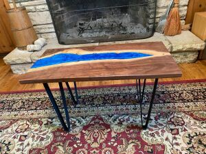 Locust Grove Walnut Table - Epoxy River through Center -- Perfect for End Table or Small Coffee Table -- Very Unique