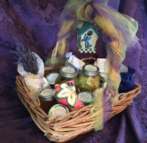 Bonfy Basket - Includes jams & jellies, Dill Pickles, Bread/Butter Pickles, Dried Munstead Lavender Bouquet, 4 Dried Lavender Satchels, 10 lbs fresh vegetables as they ripen