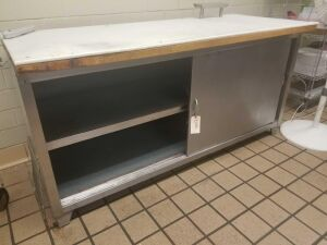 "Stainless Steel Cabinet w/ 2 Doors and Cutting Board Top 72"" x 36"" x 29"""