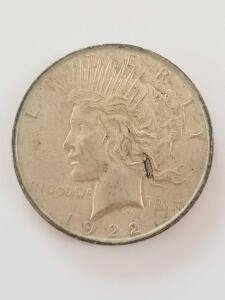 1922 Peace Dollars, Minted in Philadelphia 90% Silver, 10% Copper
