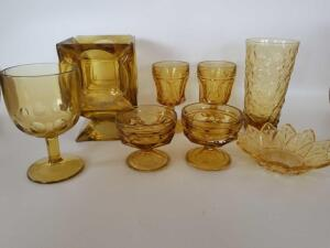 Vintage Gold Glassware, Dessert Cups, Stemware, Glasses, Candy Dish, and A Candle Holder made from 6 Ashtrays