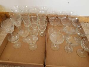Clear Glass Stemware, Variety of Sizes