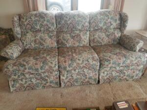 "Double Reclining Floral Upholstered Couch 78"" x 37"" x 36"""