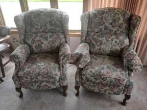 "2 Upholstered Wing Backed Floral Chairs with Wooden Legs 30"" x 40"" x 32"""