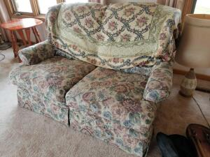 "Upholstered Double Reclining Floral Love Seat, Showing Wear 52"" x 36"" x 34"""