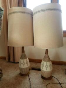"Vintage 32"" Neutral Tone Lamps"