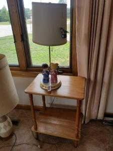 "Wooden Side Table 19"" x 24"" x 13"", and 24"" Praying Children Lamp with Broken Base"