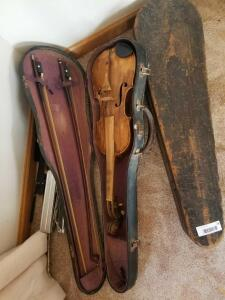 Wooden Violin and Bows, Showing Damages and comes with Wood Case (1), and Vinyl Case (1)