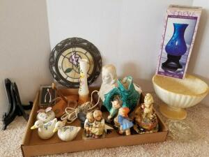 Knick Knacks, Including Figurines, Candle Holder, Clock, Pedestal Bowl and glass Pieces