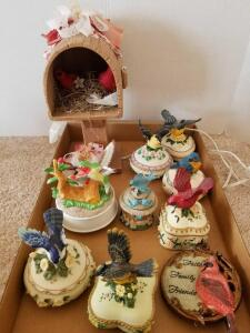 Knick Knacks Including Ceramic Bird Trinket Boxes (8), Ceramic Birdhouse Lamp, Cardinal Throw Pillow and Cardinal Wall Hanging