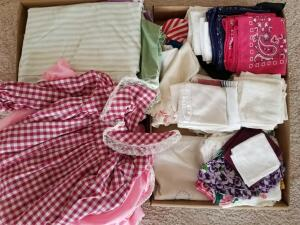 Vintage Hankies, Child's Dress, and Bedding